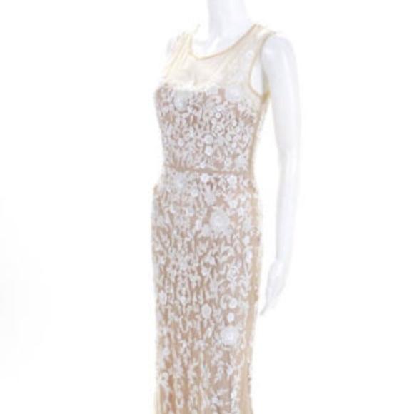 Badgley Mischka Dresses | Badgly Mischka Beige White Beaded Gown ...